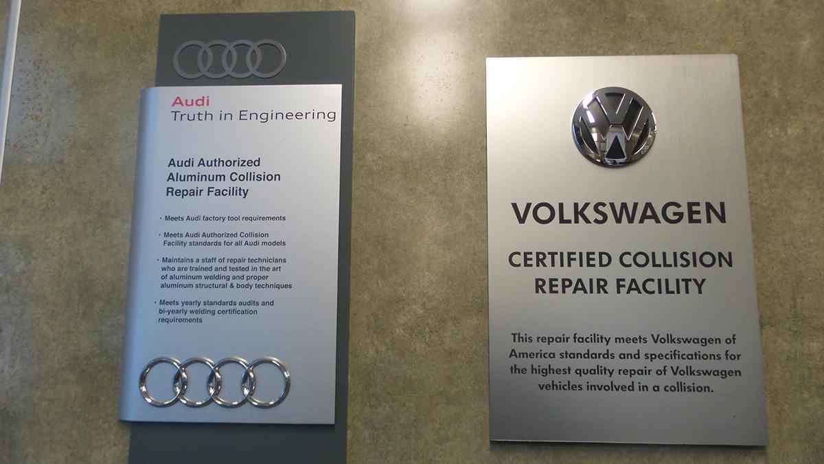 Shop Office Exclusive Auto Collision - Audi certified collision repair